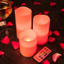 3 Piece Flameless LED Wax Colour Changing Mood Candle Set