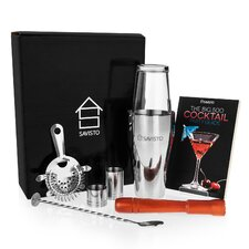 8 Piece Premium Boston Cocktail Shaker Gift and Recipe Book Set