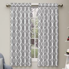 Backstrom Geometric Semi-Sheer Rod Pocket Curtain Panels (Set of 2)