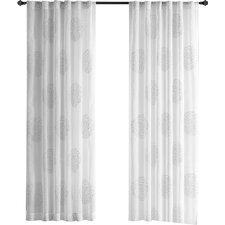 Bridget Flocking Geometric Sheer Rod Pocket Single Curtain Panel