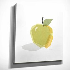 'Green Linen Apple' by Carol Robinson Painting Print on Wrapped Canvas