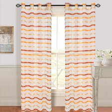 Sonya Striped Semi-Sheer Grommet Single Curtain Panel