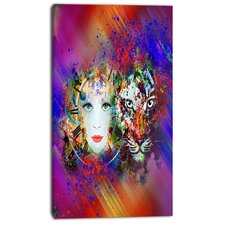 'Colorful Tiger and Woman Face' Graphic Art on Wrapped Canvas