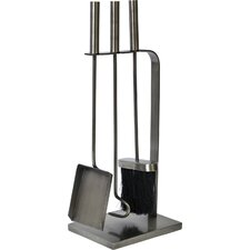 4 Piece Pewter Fireplace Tool Set
