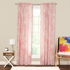Eloise Nature/Floral Sheer Rod Pocket Single Curtain Panel