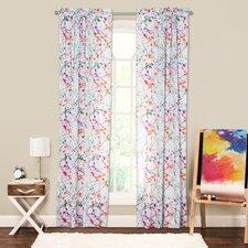 Splat Abstract Sheer Rod Pocket Single Curtain Panel