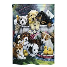 Bath Time Pups 2-Sided Vertical Flag