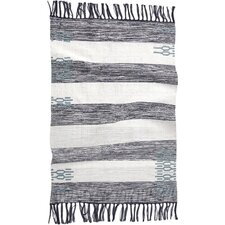 Ano Nuevo Hand-Woven Midnight/Mid Dusty Aqua Area Rug