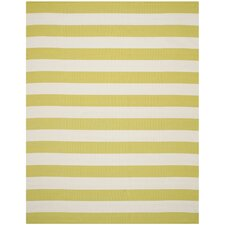 Beechwood Green & White Striped Contemporary Area Rug