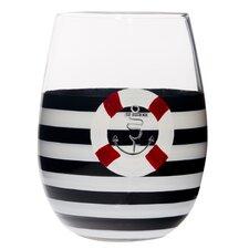 Nautical Navy Life Vest Stemless 15 oz. Wine Glass