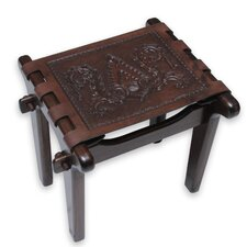 Colonial Elegance Mohena Wood and Leather Stool