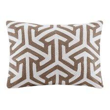 Bourg Crewel Embroidered Oblong Cotton Lumbar Pillow