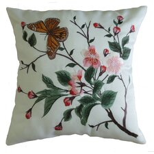 Mante Carlo Decorative Embroidered Butterfly Design Fine Burlap Pillow Cover