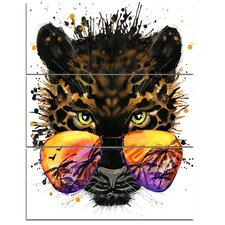 'Funny Jaguar with Sunglasses' 3 Piece Wall Art on Wrapped Canvas Set