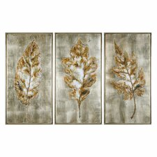 Leaves Modern 3 Piece Framed Painting Set