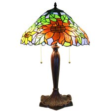 "Zellda Stained Glass 2-Light Sunflower 16"" Table Lamp"