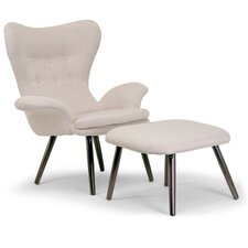 Akari Fabric Accent Wing back Chair and Ottoman