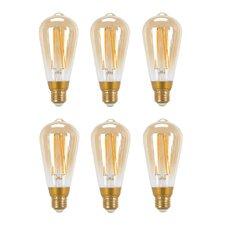 60W Equivalent Soft White (2200K) Vintage Edison Dimmable LED Light Bulb (Set of 6)