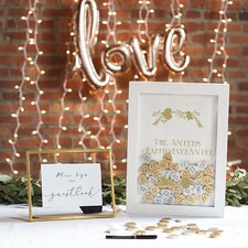 Personalized Gold Heart Drop Guestbook