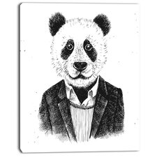 'Funny Hipster Panda Black White' Graphic Art on Wrapped Canvas