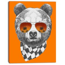 'Funny Bear with Sunglasses' Graphic Art on Wrapped Canvas