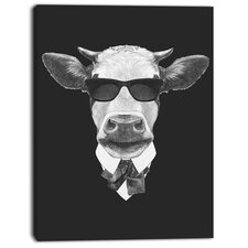 'Funny Cow in Suit with Glasses' Graphic Art on Wrapped Canvas
