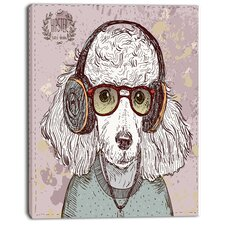 'Funny Hipster Poodle with Glasses' Graphic Art on Wrapped Canvas