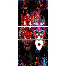 'Tiger and Woman Colorful Faces' 5 Piece Graphic Art on Canvas Set