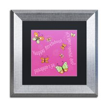 'Pink Butterfly Girl Birthday' by Jennifer Nilsson Framed Graphic Art