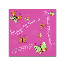 'Pink Butterfly Girl Birthday' by Jennifer Nilsson Graphic Art on Wrapped Canvas