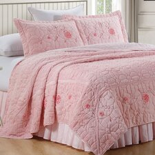 Ribbon Embroidered Faux Fur 3 Piece Bedspread Set