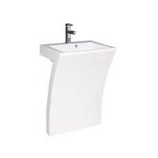 "Sette 24"" Pedestal Bathroom Sink with Overflow"
