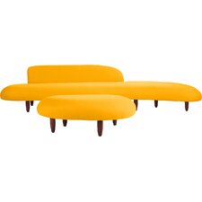 Potvin Mid Century Modern Sofa and Ottoman Set