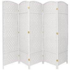 "Anthurium 71""x 80"" Tall Diamond Weave Fiber 5 Panel Room Divider"