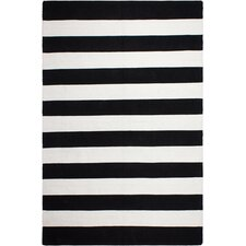 Nantucket Striped Black/White Indoor/Outdoor Area Rug