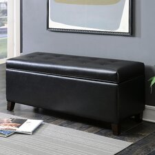 Contemporary Button Tufted Shoe Storage Leather Ottoman