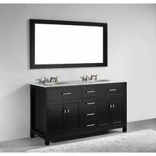 "San Clemente 60"" Double Bathroom Vanity with Mirror"