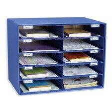 Mail Box 10 Compartment Shelving Unit with Doors