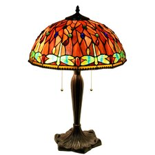 "Zenevieva Dragonfly 2-Light Stained Glass 16"" Table Lamp"