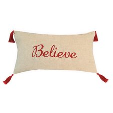 Believe Embroidered 100% Cotton Lumbar Pillow