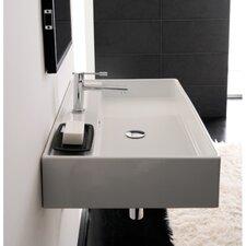 "Teorema 32"" Wall Mounted Bathroom Sink with Overflow"