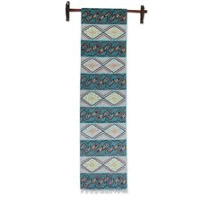 Hand-Woven Wool Tapestry with Inca Glyphs