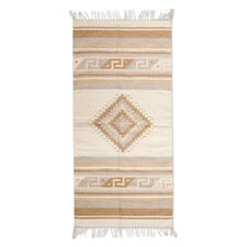 Zapotec Hand-Loomed Tan / Ivory Area Rug