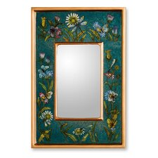 Unique Peruvian Reverse Painted Glass Wall Mirror