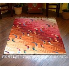 Bird Hand-Woven Red / Orange Area Rug