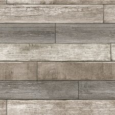 "Nu 18' x 20.5"" Reclaimed Wood Plank Natural Wallpaper Roll"