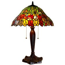 "Zathura Tulip 2-Light Stained Glass 23"" Table Lamp"