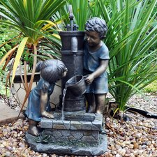 Boy and Girl Stone Hand Pump Water Fountain