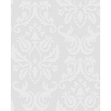 "Paintable 33' x 20"" Damask 3D Embossed Wallpaper Roll"