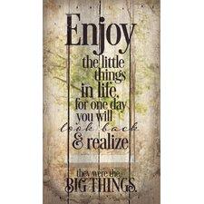 'Enjoy the Little Things' by Tonya Gunn Textual Art on Plaque